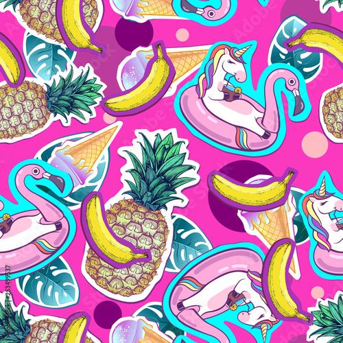 Tapety do pokoju dziewczynki  summer-seamless-pattern-with-unicorn-and-pineapple-zine-culture-style-summer-cut-out-back