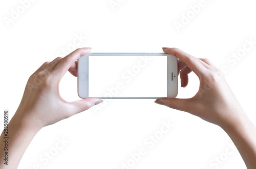 Fotografering  hands take photo with mobile smartphone