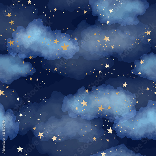 Obraz Seamless dark blue night sky pattern with gold foil constellations, stars and watercolor clouds - fototapety do salonu