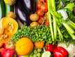 Raw vegetables and fruits background.Healthy organic food concept