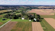 Aerial Long Distance Of Herr House Property And Surrounding Farmland. Concept: National Park Service, Historic Places, Mennonite, Colonial America, Amish, Landmark, ?educational