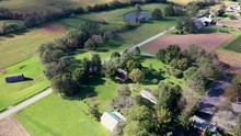 Aerial High Angle View Entire Herr House Property Including Native American  Longhouse. Concept: National Park,? Historic Places, Mennonite, Colonial, Educational, Native American Culture, Interactive
