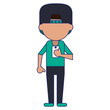 man using smartphone avatar cartoon