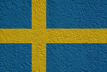Sweden Politics Or Business Concept: Swedish Flag Wall With Plaster, Background Texture