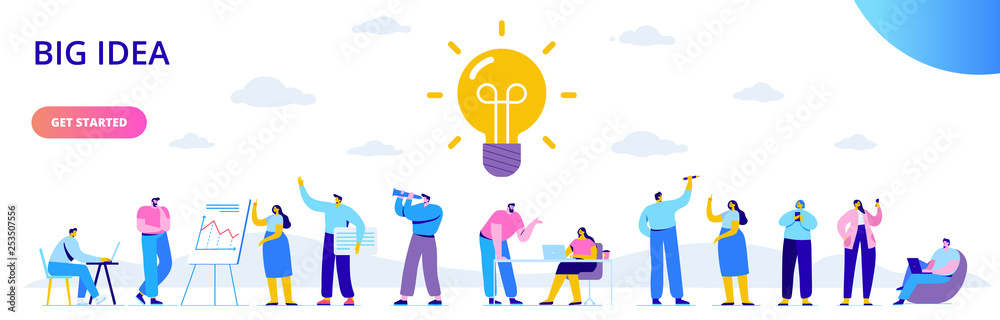 Fototapeta Flat business people with big Light Bulb Idea. People working together on new Project.  Creativity, Brainstorming, Innovation concept.  Flat Vector illustration.