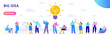 Flat business people with big Light Bulb Idea. People working together on new Project.  Creativity, Brainstorming, Innovation concept.  Flat Vector illustration.