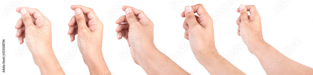 Fototapeta Multiple of Male Caucasian hand gestures isolated over the white background. HAND HOLDING CARD.