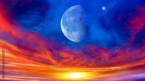 Foto auf AluDibond Dunkelblau Crescent moon with beautiful sunset background . Generous Ramadan . Light from sky . Religion background .