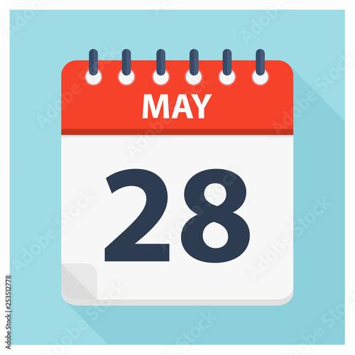 Fotografie, Tablou  May 28 - Calendar Icon - Calendar design template