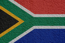 South Africa Politics Or Business Concept: South African Flag Wall With Plaster, Background Texture