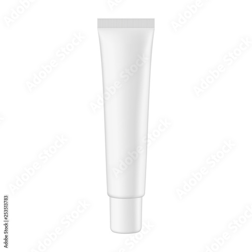 Fotografie, Obraz  Cosmetic packaging tube mockup isolated on white background - front view