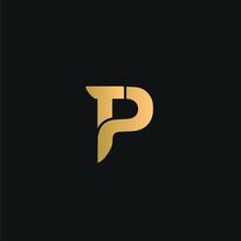 TP Or PT Logo Vector. Initial Letter Logo, Golden Text On Black Background