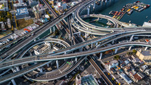 Aerial View Interchange Highway And Overpass In City Of Osaka City, Osaka, Kansai, Japan