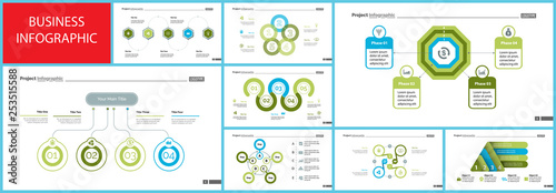 Photo  Set of startup or investment concept infographic charts