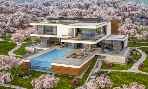 Foto auf Leinwand Dunkelgrau 3d rendering of modern cozy house by the river with garage. Fresh spring day with a blooming garden. For sale or rent with flowers of sakura on background.
