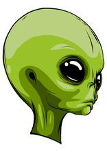 Alien Extraterrestrial Green Face Mascot Vector Illustration