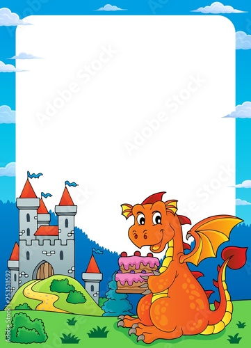 Tuinposter Voor kinderen Dragon holding cake theme frame 1