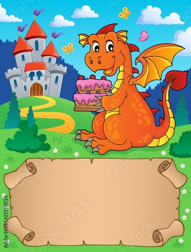 Small parchment and dragon holding cake