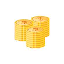 Pile Of Coins Dollar Isolated Icon