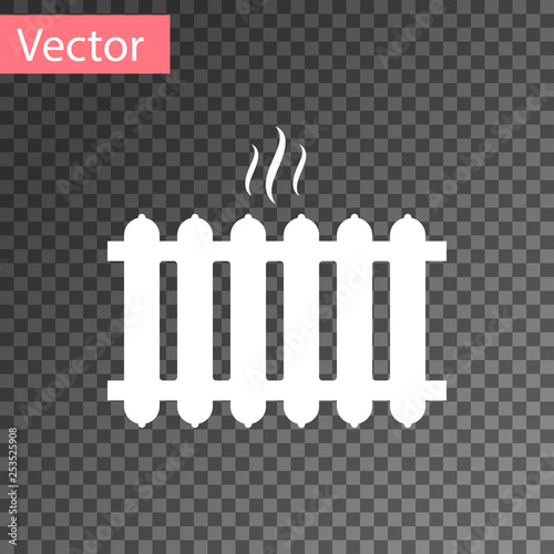 Fototapeta White Heating radiator icon isolated on transparent background. Vector Illustration obraz na płótnie
