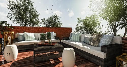 Foto Outdoor Couchelemente auf gemütlicher Terrasse laden zum Verweilen ein