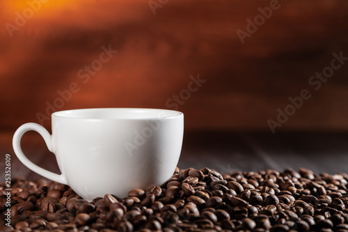 Fotografie, Obraz  A cup of hot aromatic coffee on the table.