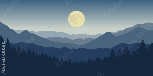 La pose en embrasure Taupe blue mountain and forest landscape at night with full moon vector illustration EPS10