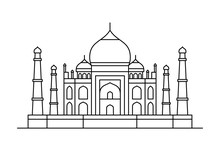Taj Mahal Icon. Isolated On White Background