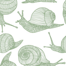 Light Green Snails Vector Seamless Repeat Pattern