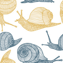 Gold And Blue Snails Vector Se...