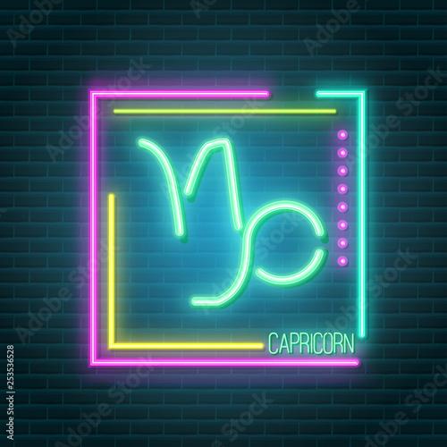 Poster Retro sign capricorn neon sign
