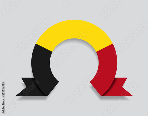 Fotografía  Belgian flag rounded abstract background. Vector illustration.