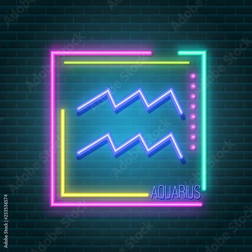 Poster Retro sign aquarius neon sign