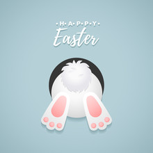 Happy Easter! Vector Illustration With Easter Bunny.