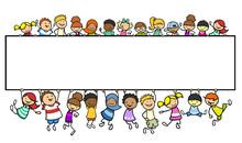 Kinder An Einem Leeren Banner Als Header Template