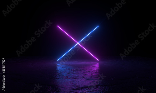 Foto 3d abstract background render, two pink and blue neons light on the ground, retrowave and synthwave illustration