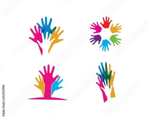 Foto auf AluDibond Boho-Stil Hand Care Logo Template vector icon