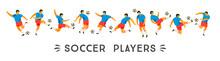 Vector Set Of Soccer Players. Design Element.