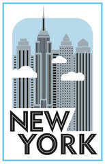 Panel Szklany Nowy York Tourist poster New York. Retro grafica. Skyscrapers and clouds. Vector drawing