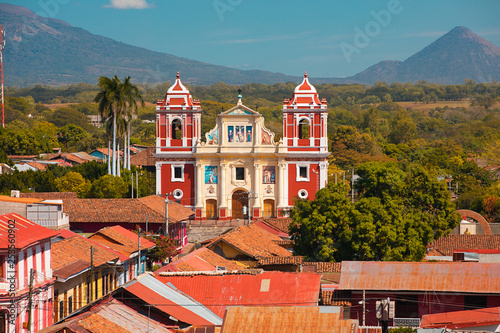 Leon Nicaragua church and volcano view Wallpaper Mural