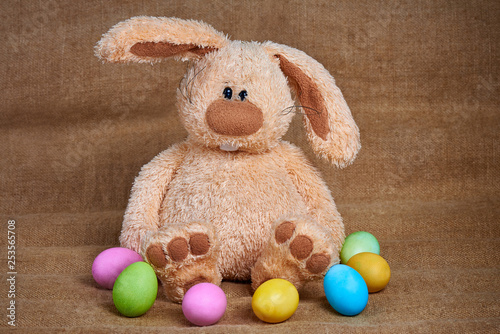 Fotografía  Stuffed soft rabbit with colorful bright painted eggs.