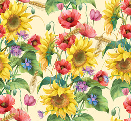 Fototapeta Słoneczniki Flowers and ears. Sunflower, cornflower, poppy and barley seamless background pattern. Version 3