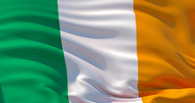 Ireland Flag Patriotic Background, 3d Illustration