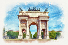 Arch Of Peace In Sempione Park Watercolor Painting, Milan, Italy