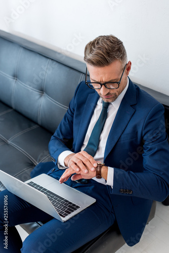 Garden Poster handsome businessman in suit sitting on sofa with laptop and looking at watch