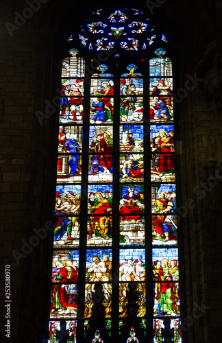 Fotografia, Obraz  Milan, Italy: Cathedral church (Milano Duomo) interior stained-glass window