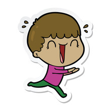 Sticker Of A Laughing Cartoon Man Running