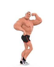 Muscle Man Cartoon In An White...