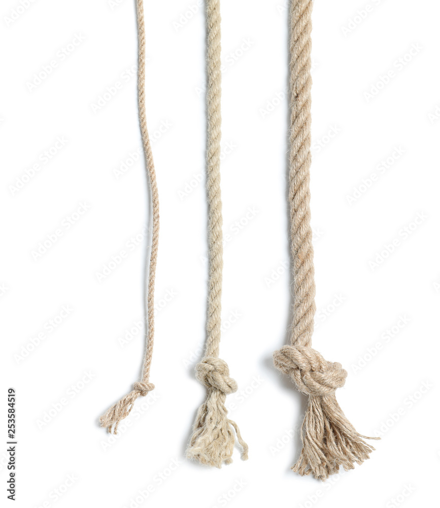 Fototapety, obrazy: Different cotton ropes with knots on white background