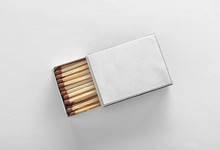 Cardboard Box With Matches On White Background, Top View. Space For Design